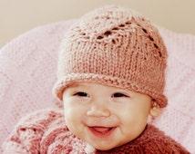 Baby Hat Wool Photo Prop Cute Leaf Details Custom Shower Gift  Woodrose Heather Custom Made Fall Infant Newborn Baby Hat