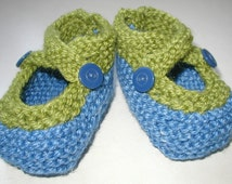 Hand Knitted Baby Booties Wool Silk Blend Blue Green  Custom Handmade Infant Toddler NB Cross Straps Mary Jane  Accessories