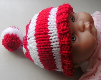 Candy Cane Baby Hat Striped Pixie Elf Stocking Hat Santa Christmas Photo Prop Red White Handmade Baby Infant Toddler
