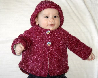 Hand Knitted Set Sweater and Hat Wool Acrylic 3-6 Months Jacket  Tweed Maroon Infant Toddler Newborn NB Custom Handmade Cardigan