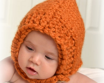 Baby Bonnet Hat, Orange Cute Hooded Custom Photo Prop Chunky Ear Flap Gnome Elf Winter Fall Newborn NB Infant Toddler