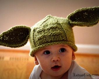 Yoda Hat All Sizes Yoda Beanie Photo Prop Halloween Custom Green Handmade Knitted