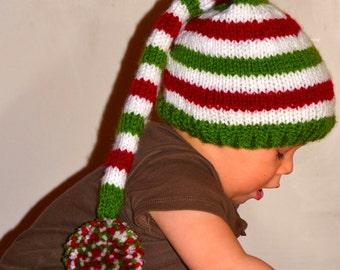 Christmas Hat - Stocking Hat - Pixie Hat - Santa Hat,  Elf Stocking Cap, Photo Prop Red White Green Handmade Stocking Cap All Sizes