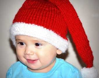 Knit Santa Hat Kids, Teen Santa Hat, Child Santa Hat, Kids Christmas Hats, Red Knitted Stocking Cap, Pom Pom Pixie Hat