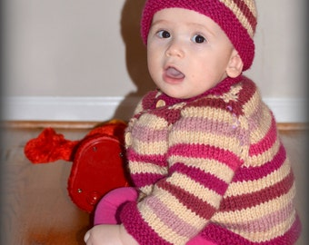 Hand Knitted Beige and Pink Stripes Tones  Baby Sweater and Hat Set Jacket Cardigan Ready to Ship