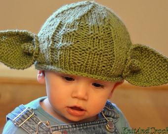 Newborn Yoda Hat All Sizes Star Wars Geeks Hat Yoda Beanie Photo Prop Halloween Custom Green Handmade Knitted