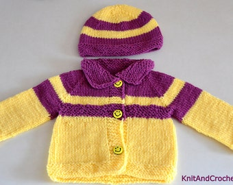 Hand Knitted Set Sweater,Jacket and Hat 2T