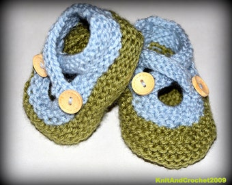 Hand Knitted Baby Slippers Dusty Green and Silver Blue Baby Booties Infant Toddler Newborn Cross Strap Wooden Buttons Buttons Mary Janes