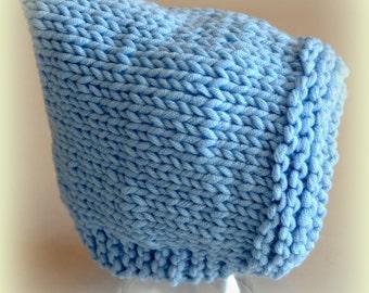 Cute Hooded Bonnet Hat Baby Blue  Photo Prop Chunky Ear Flap Custom Gnome Elf Winter Fall Newborn NB Infant Toddler Child