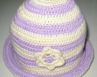 Hand crocheted striped Hat-Lavander and Off  White