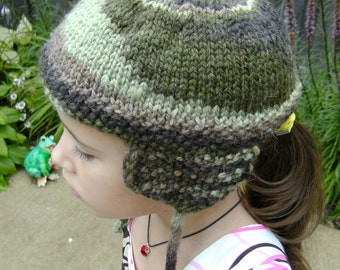 Hand Knitted Ear Flap Camouflage Hat Size 5-8