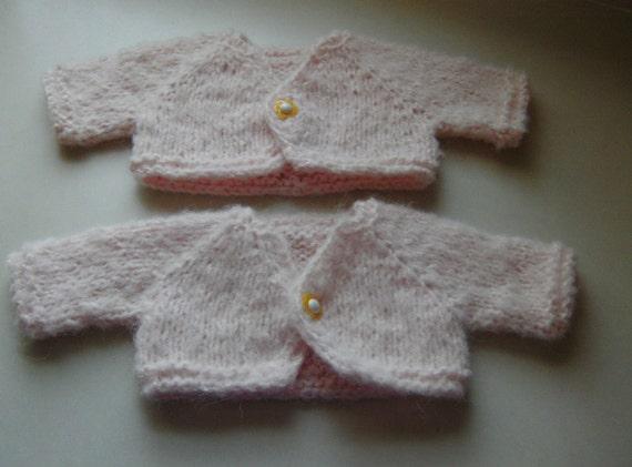 Hand Knitted Twins Babies Set Fuzzy Bolero Alpaca Blend Size Newborn Light Pink Daisy Button Infant Baby Sweater Tank Girl