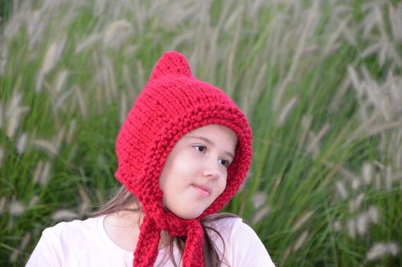 Cute Red Hooded Cap Hat  Wool Chunky  Ear Flap Adult Gnome Elf  Winter Fall Cranberry Hand Knit Accessories Custom All Sizes FREE SHIPPING