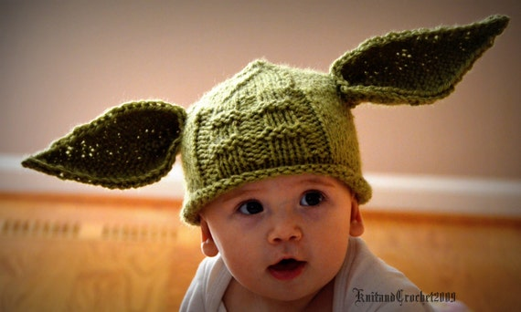 Yoda Hat All Sizes Yoda Beanie Photo Prop Halloween Custom Green Handmade Knitted