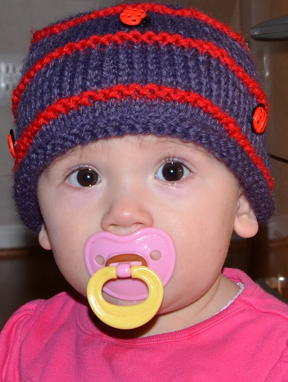 Hand Knitted Baby Hat Striped Purple Red Lady Bug Buttons Handmade Custom 6-9 Months Photo Prop Toddler  Shower Gift All Sizes