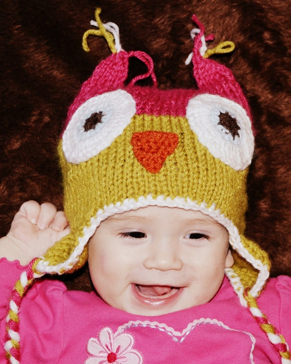 Baby Owl Hat Beanie Knitted, All Sizes, All Colors