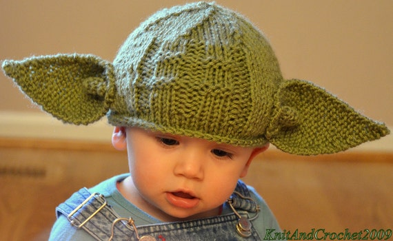Newborn Yoda Hat All Sizes Star Wars Fans Hat Yoda Beanie Photo Prop Halloween Custom Green Handmade Knitted