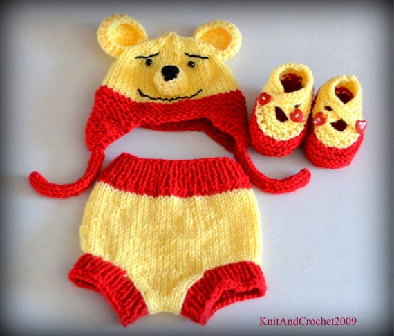 Winnie The Pooh - Hat Diaper Cover And Booties Set, Winnie The Pooh Beanie, Photo Prop Animal Bear Cartoon Red Yellow NB Teddy Bear Ear Flap