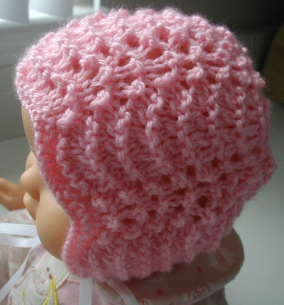 Cute Knitted Baby Bonnet Pink Green Yellow White Infant Toddler Custom Handmade Hat Fall Christening Hat Baptism Photo Prop