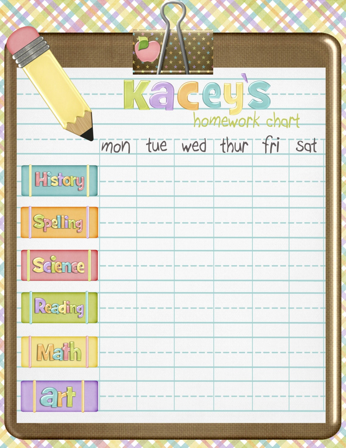 ... Hearts Personalized Calendar Pad | Kids Schedule Pad | Homework Chart
