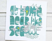 silk screen printed poster - At Home Near The Sea - SlideSideways