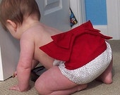 Kimono Sweet Bottoms diaper cover, polka dot with red bow - Baby girl sizes 0-18 months