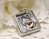 ON SALE Vintage Rose and Swarovski Crown Charm Necklace/ Pendant
