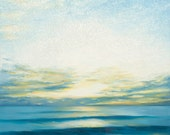 "Original Oil Painting by Daina Scarola - Autumn Dawn, 30""x30"" (surf art, sunrise, seascape, waves, beach cottage, white)"