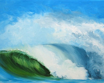 "GICLEE reproduction on 8 1/2 x 11"" fine art PAPER - Curling Wave series 5 (wave, barrel, tube)"