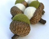 Moss and Snow -  Felted Acorns - Set of 6 - Waldorf Inspired.