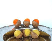 6 Tangerine and Lemon Felted Wool Acorns and Silver display bowl.