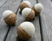 Snow Felted Wool Acorns - Winter Decorating -  Set of 10 - Nature Inspired.