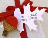Christmas Gift Tags - Felted Acorn and Oak Leaf Git Tags - Set of 4.
