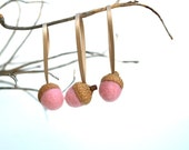 Pink Acorn Ornaments, Needle Felted Home Decor, Wool Decorations, Tree, Nature Lovers Gift, Baby Shower, Rustic, Woodland - 9