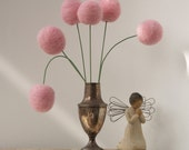 Wool Pom Pom Flowers, felt Craspedia Billy Button Ball Bloom home decor Blushing Pink handmade pompom wedding bouquet decoration large