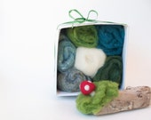 DIY Felting Kit, explore Needle Felting, Kit includes gorgeous green hues of wool needle felting foam safety mat learn a new hobby crafting