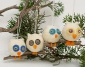 Custom order for Pam - 3 Ornaments - each ornament has two owls together on the branch