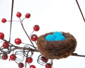 Nest Easter Ornament Spring Decoration Wool Needle Felt Woodland Tree Red Turquoise Egg Bird Fairytale Home Decor Snow Berry
