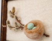Wool Painting Art, Pussy Willow Robin's Egg Nest Framed Art Mixed Media turquoise blue rusty brown gift for her mother spring 3D