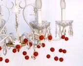 Red Felt Garland, Decorating needle felted Modern Chic Minimal white elegant entertaining banner flag heart chandelier