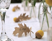 Wedding Place Cards, Yellow Spring Acorn and Oak Leaf Favors 10 Rustic Woodland Fairytale Classic Shabby Chic Country Theme Craspecia