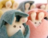 Bunnies in Easter Eggs - Three Christmas Gifts, Waldorf Toys, Needle Felted Wool Toy