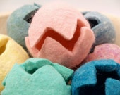 Needle Felted Easter Eggs in bright Spring pastel colors, Hollow wool, Eco Friendly, Waldorf Handmade, Biodegradable, Natural Materials 2