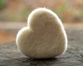 White Needle Felted Heart, 1 Large Felt Wool Heart, Love gift home decor - Seventh Wedding Anniversary 7th