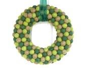 Door Wreath, Green Felt Ball Wreath, Large, Fall Autumn Thanksgiving Home Decor, Rustic Woodland Eco Friendly