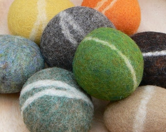 Felted Pebbles. Autumn, Fall shades of wool felted around real river pebbles. 8 Rustic felt stones