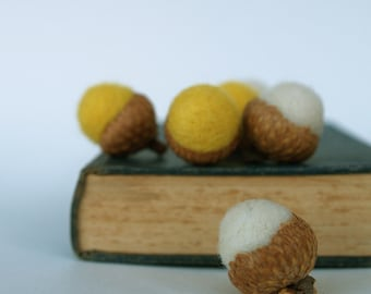 Needle Felted Acorns in natural Autumn Fall shades. Rustic Home Decor. Yellow & White - 6