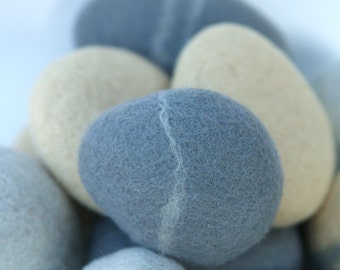 Felted stones, pebbbles stones wool felt home decor all natural beach colorful housewares paperweight dude hostess gift blood gray grey 3