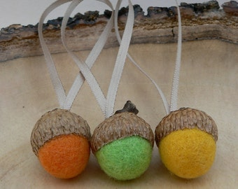 Wool Acorn Ornaments, Spring Decorations, Six Orange, Yellow and Green Felted Acorns