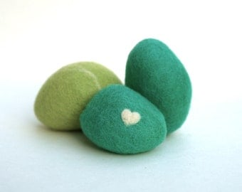 Felted Pebble, rocks stones wool felt home decor natural love heart colorful gift dude hostess gift moss teal green blue, eco friendly - 3